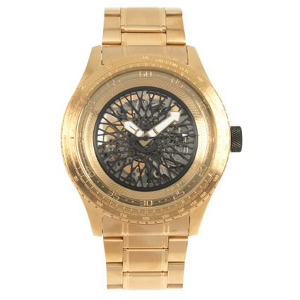 Relógio Automático Masculino Chilli Beans Metal Escovado Dourado RE.MT.1035-2121
