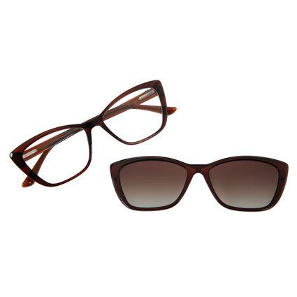 Armação Para Óculos de Grau Feminino Chilli Beans Multi Gatinho Polarizado Marrom Escuro LV.MU.0374-5747