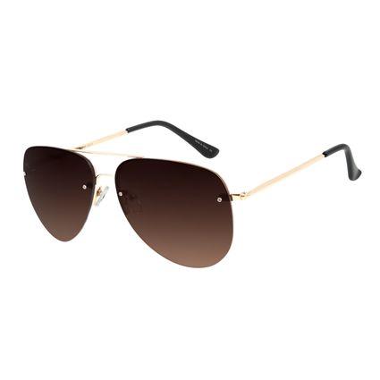 Óculos de Sol Unissex Chilli Beans Aviador Dourado Metal Brilho OC.MT.2814-0221