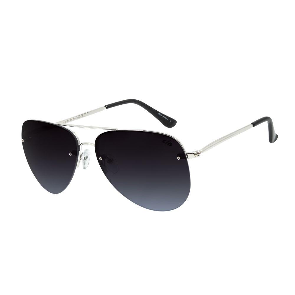 Óculos de Sol Unissex Chilli Beans Aviador Prata Metal Brilho OC.MT.2814-2007