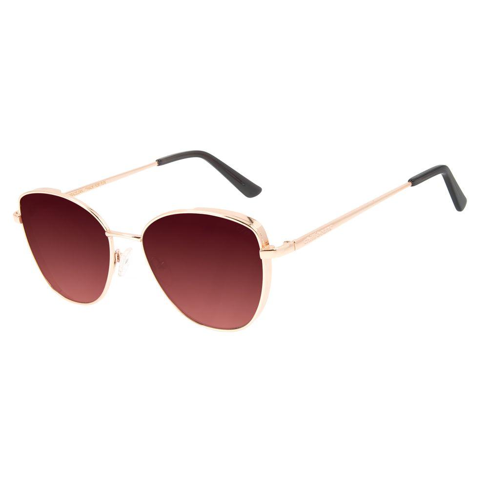 Óculos de Sol Feminino Chilli Beans Gatinho Rosê Metal Flap OC.MT.2858-2095