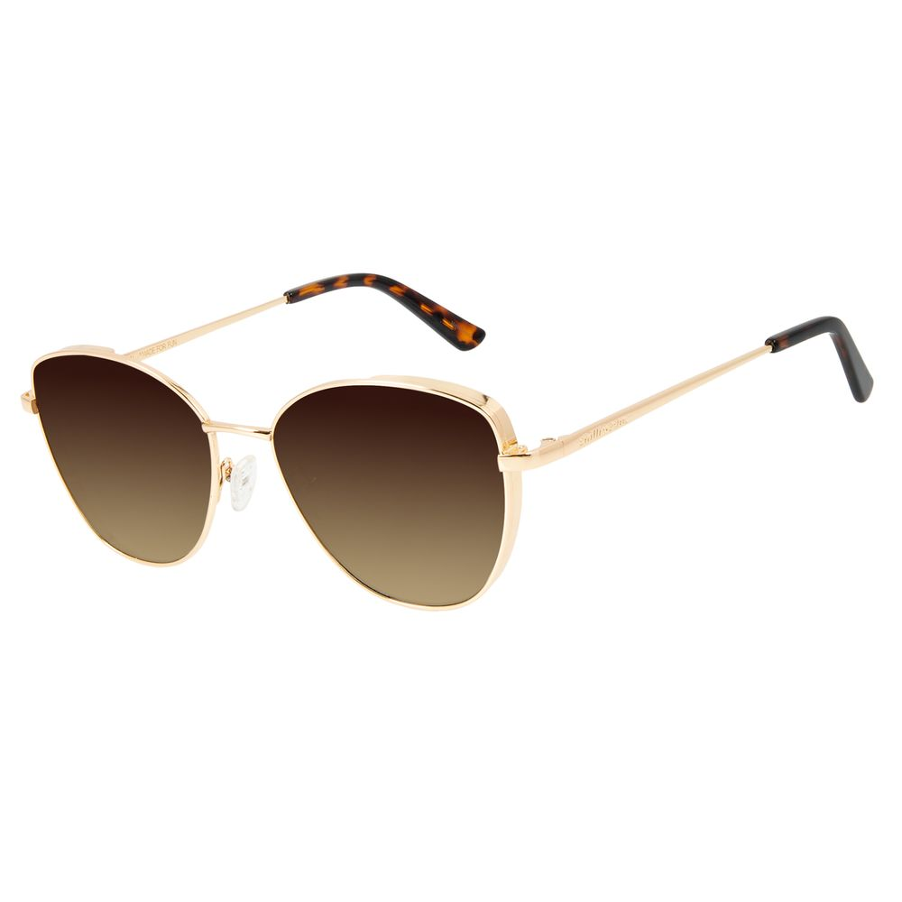 Óculos de Sol Feminino Chilli Beans Gatinho Dourado Metal Flap OC.MT.2858-5721