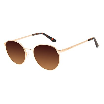 Óculos de Sol Unissex Chilli Beans Redondo Rosê Metal Brilho OC.MT.2862-5795