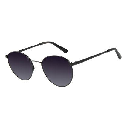 Óculos de Sol Unissex Chilli Beans Redondo Preto Metal Brilho OC.MT.2862-2001