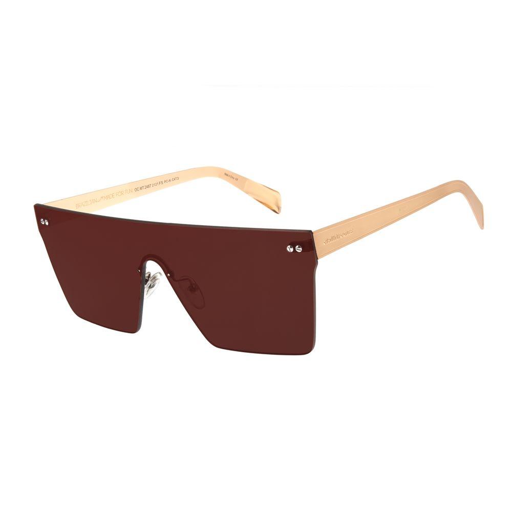 Óculos de Sol Unissex Matheus Mazzafera Quadrado Dourado OC.MT.2487-2121