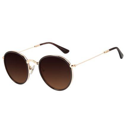 Óculos de Sol Unissex Chilli Beans Redondo Dourado Casual OC.CL.3026-5721