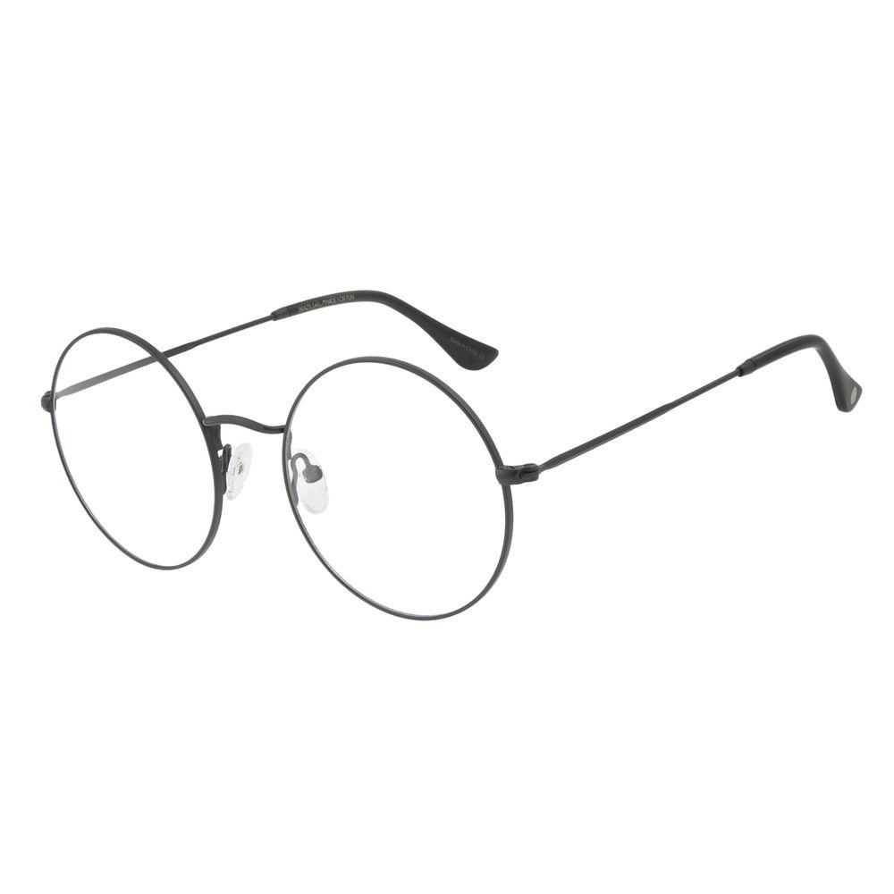 Armação Para Óculos de Grau Feminino Chilli Beans Metal Redondo Casual Preto LV.MT.0419-0101