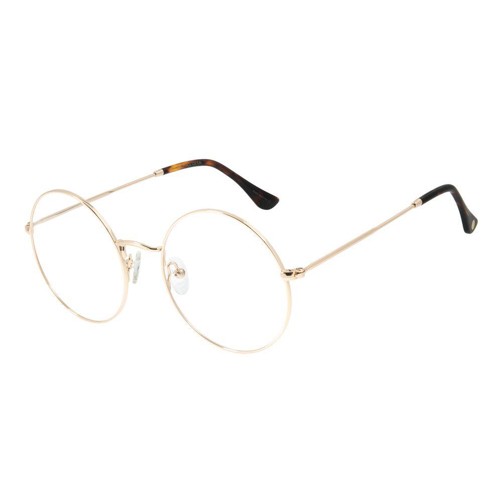 Armação Para Óculos de Grau Feminino Chilli Beans Metal Redondo Casual Dourado LV.MT.0419-2121