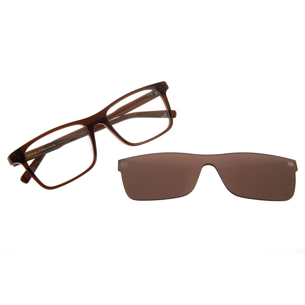 Armação Para Óculos de Grau Masculino Chilli Beans Retangular Multi Cristal Marrom LV.MU.0377-0202