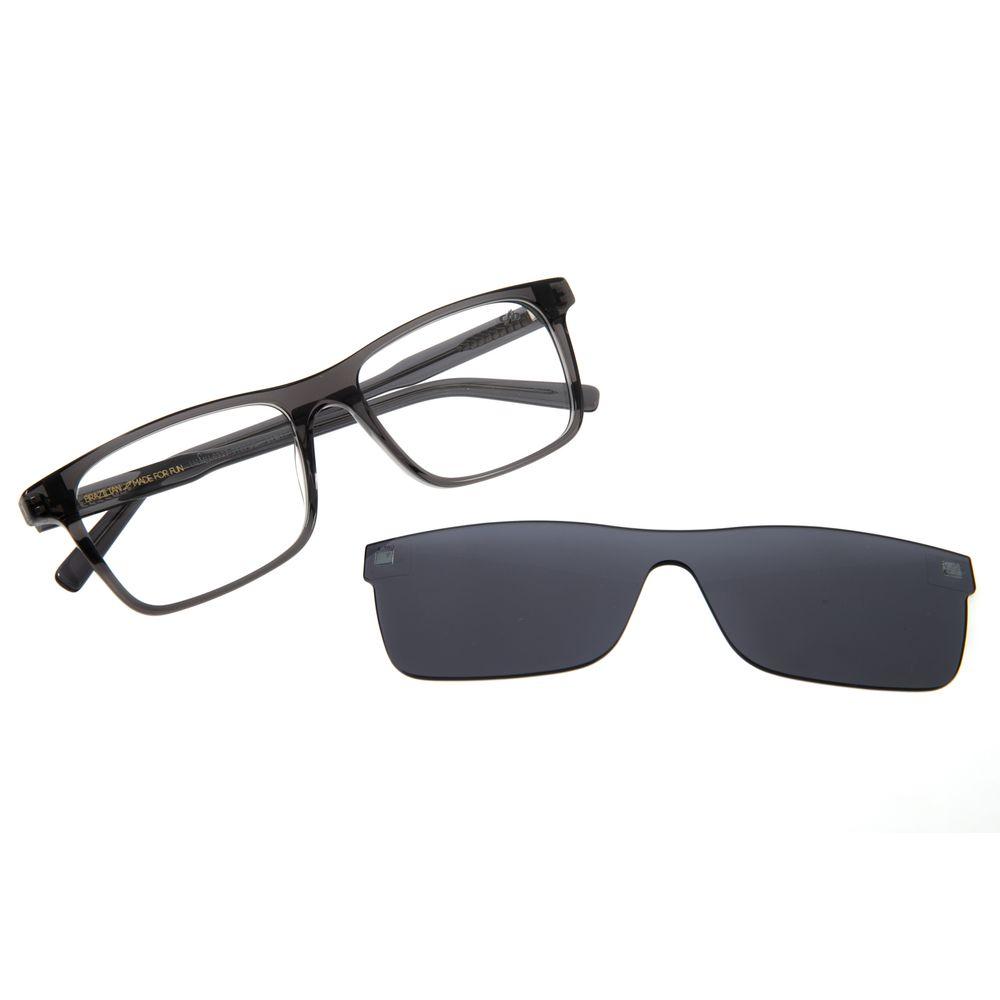 Armação Para Óculos de Grau Masculino Chilli Beans Retangular Multi Cristal Cinza LV.MU.0377-0430