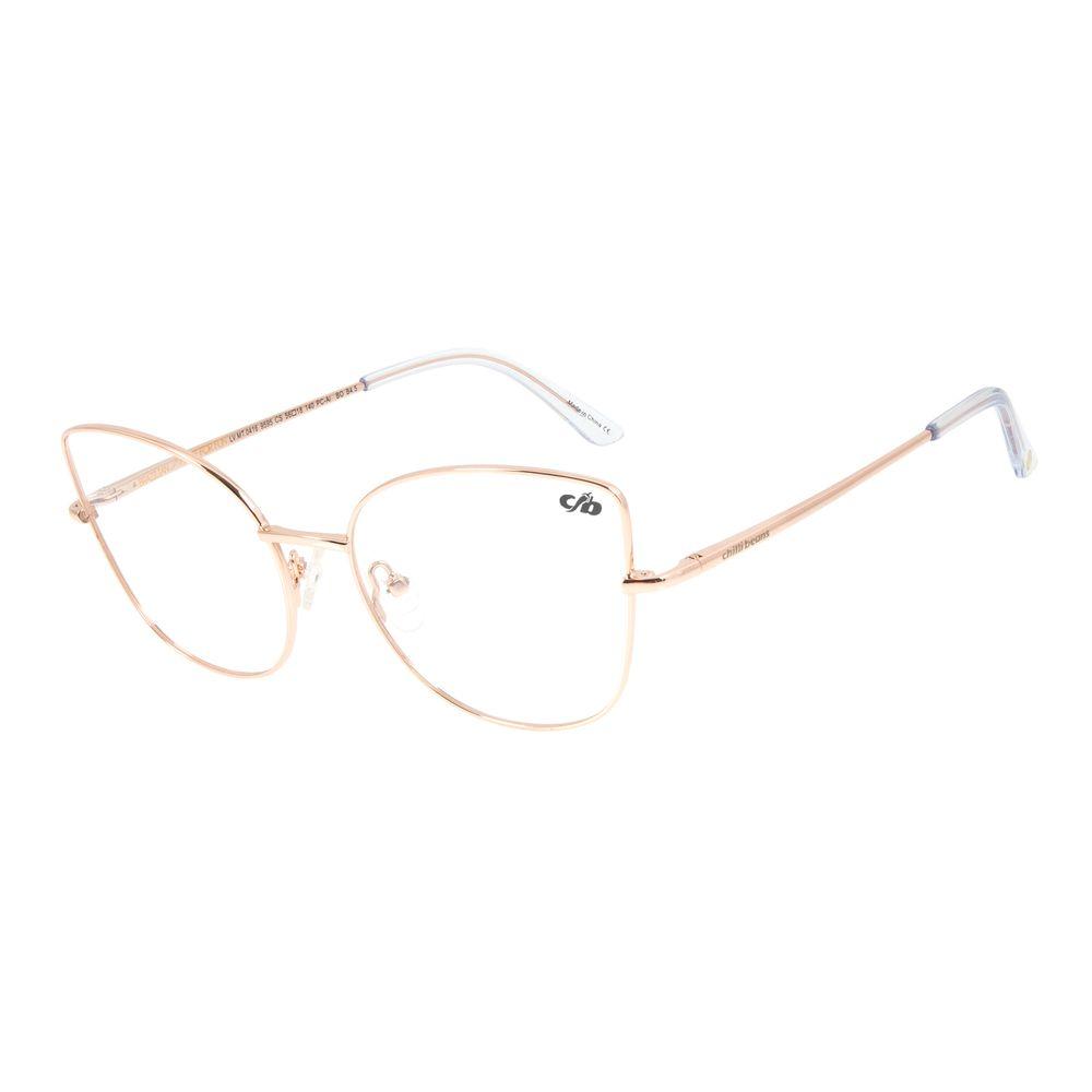 Armação Para Óculos de Grau Chilli Beans Gatinho Metal l Rosê LV.MT.0416-9595