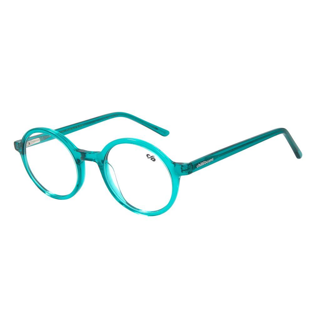 Armação para Óculos de Grau Unissex Chilli Beans Redondo Cristal Azul Claro .AC.0648-5959