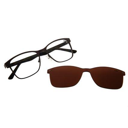Armação para Óculos de Grau Unissex Multi Bossa Nova Inox Cinza Escuro LV.MU.0268-0228