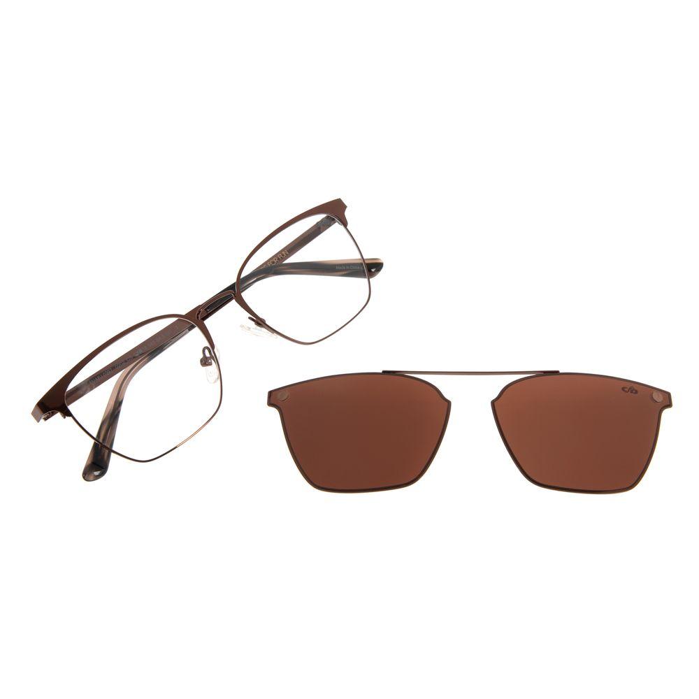 Armação para Óculos de Feminino Chilli Beans Multi Quadrado Metal Marrom LV.MU.0397-0202