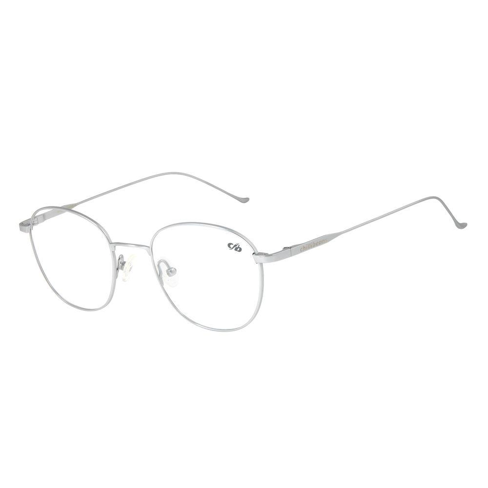 Armação Para Óculos de Grau Unissex Chilli Beans Redondo Titânio Prata LV.MT.0375-0707