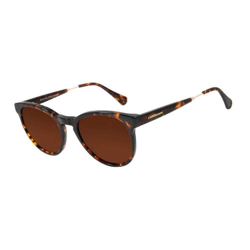 Óculos de Sol Unissex Chilli Beans Polarizado Redondo Tartaruga OC.CL.2971-0206