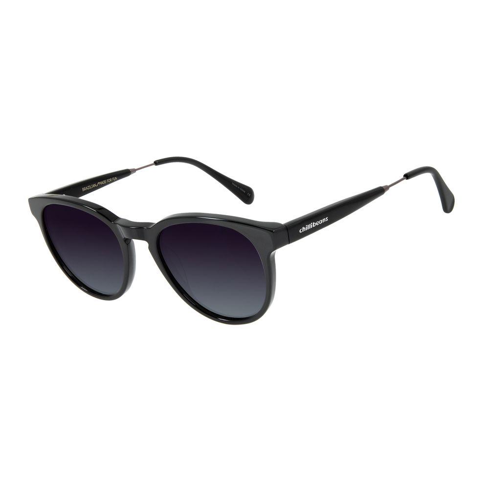 Óculos de Sol Unissex Chilli Beans Polarizado Redondo Preto OC.CL.2971-2001