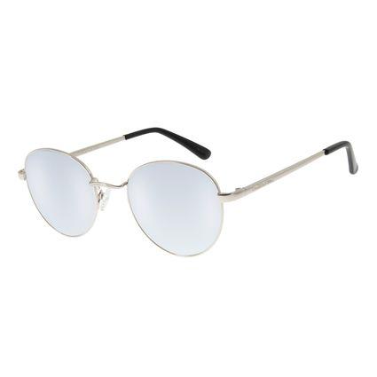 Óculos De Sol Unissex Chilli Beans Redondo Metal Azul Espelhado OC.MT.2517-9107