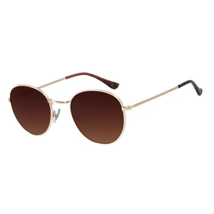 Óculos de Sol Unissex Chilli Beans Redondo Metal Dourado OC.MT.2822-5721