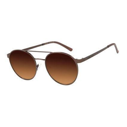 Óculos De Sol Feminino Chilli Beans Redondo Metal Marrom OC.MT.2869-5702