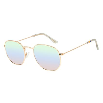 Óculos de Sol Unissex Chilli Beans LGBTQIA+ Redondo Metal Dourado OC.MT.2861-4021