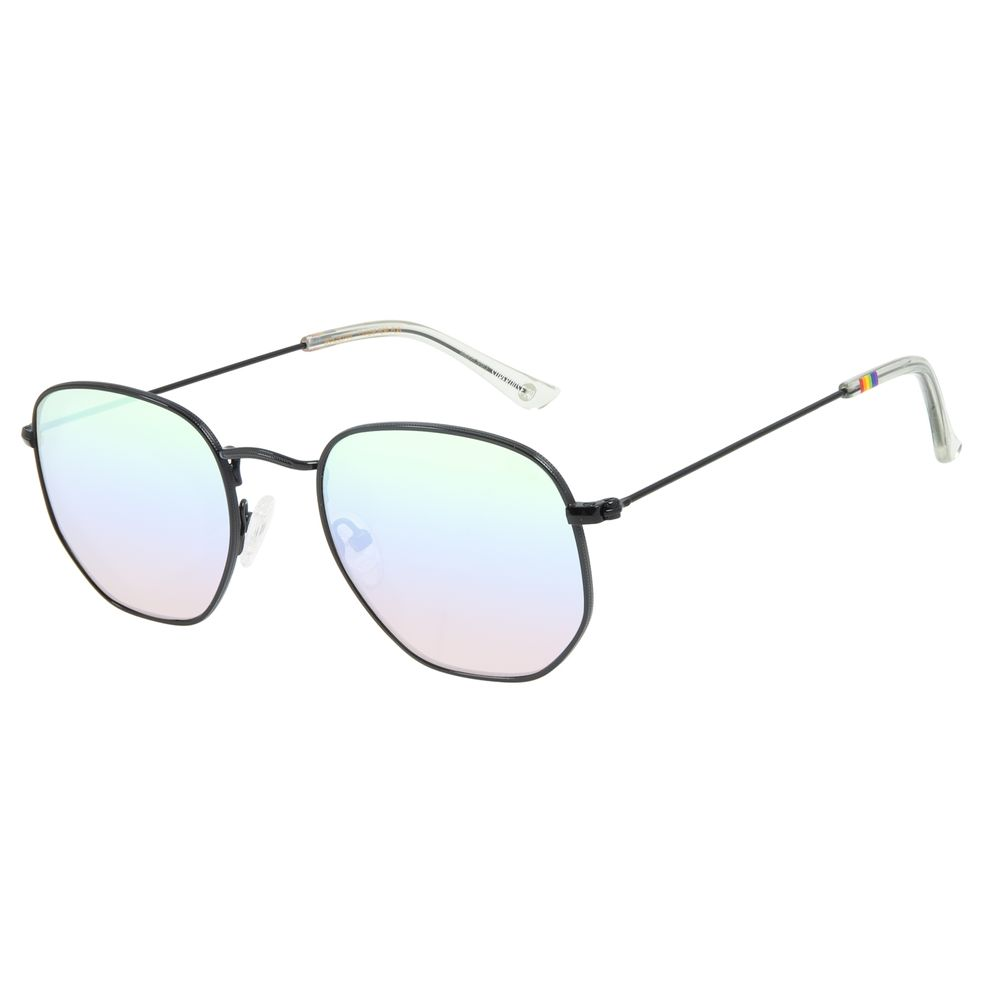 Óculos de Sol Unissex Chilli Beans LGBTQIA+ Redondo Metal Preto OC.MT.2861-4001