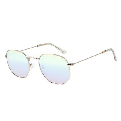 Óculos de Sol Unissex Chilli Beans LGBTQIA+ Redondo Metal Prata OC.MT.2861-4007