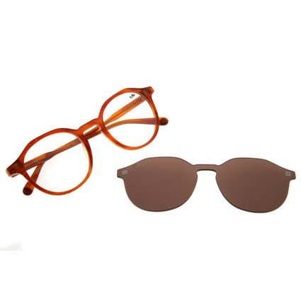 Armação para Óculos de Grau Chilli Beans Masculino Multi Redondo Marrom LV.MU.0376-0202