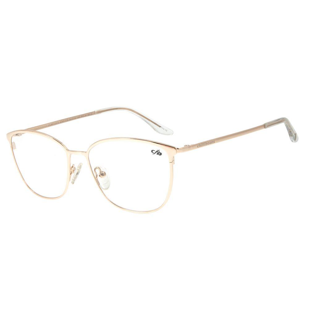 Armação Para Óculos de Grau Feminino Chilli Beans Quadrado Fine Line Marrom Escuro LV.MT.0373-4747