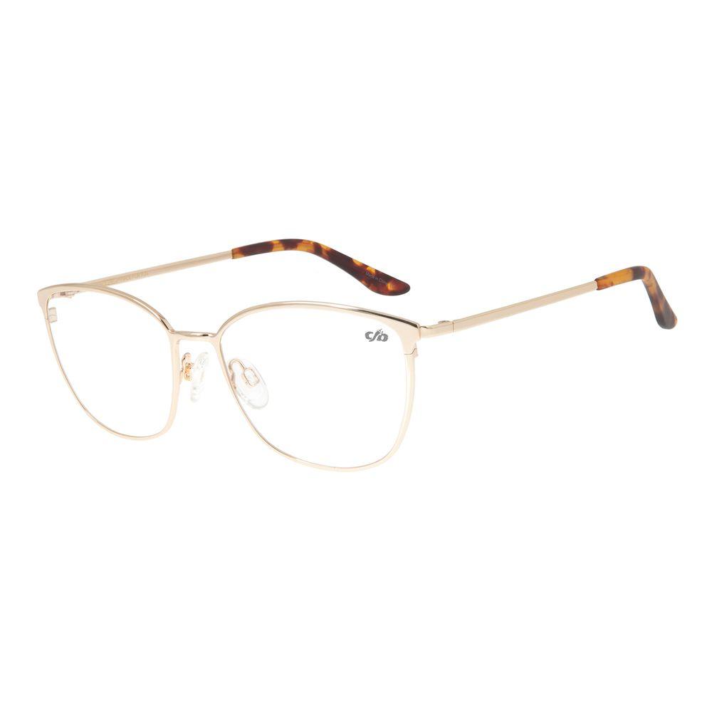 Armação Para Óculos de Grau Feminino Chilli Beans Quadrado Fine Line Dourado LV.MT.0373-2121