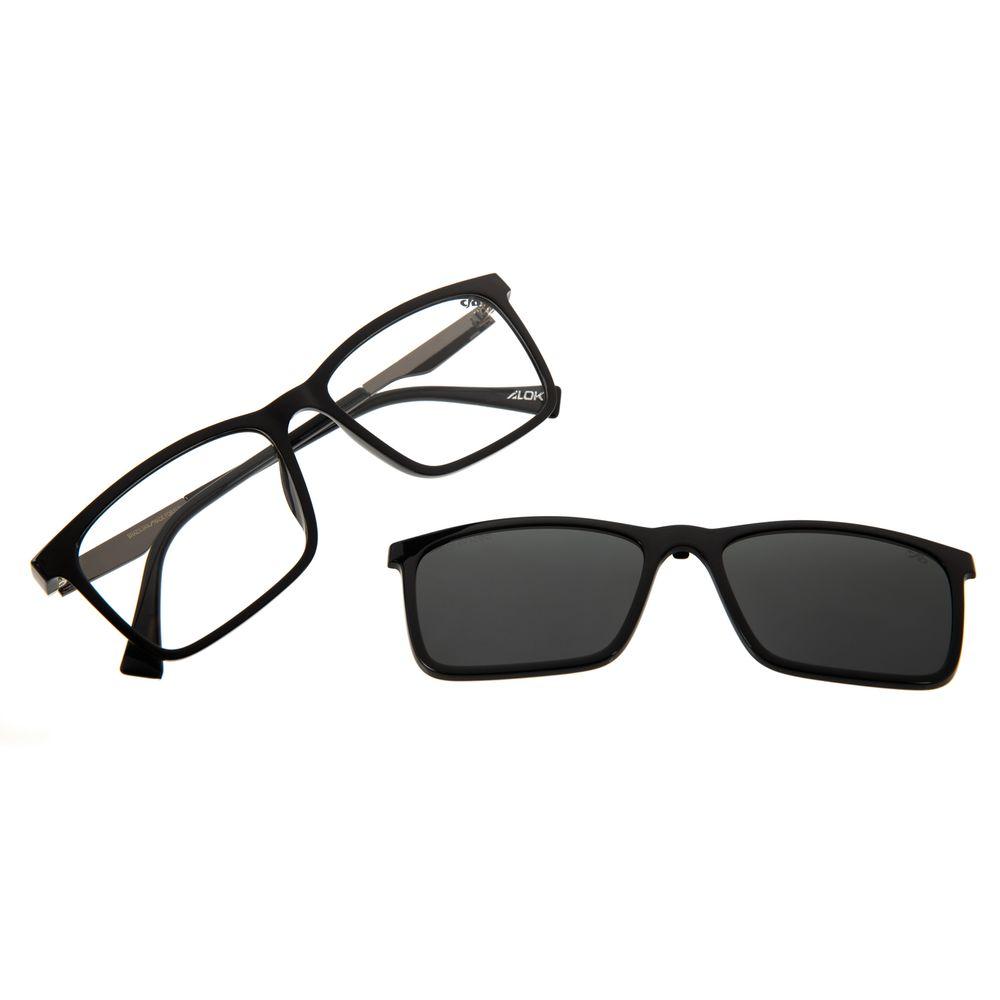 Armação Para Óculos De Grau Masculino Alok Multi Polarizado Preto Brilho LV.MU.0436-0130