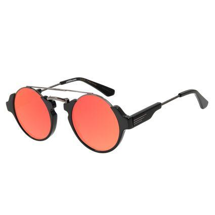 Óculos de Sol Unissex Alok Steampunk Redondo Vermelho Espelhado OC.CL.3057-9201