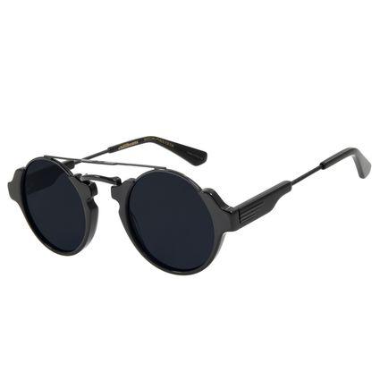 Óculos de Sol Unissex Alok Steampunk Redondo Preto OC.CL.3057-0501