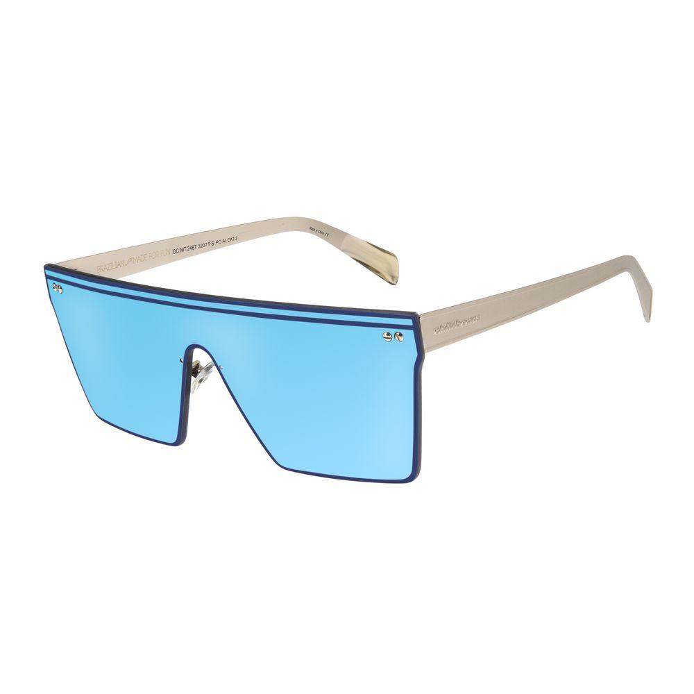 Óculos de Sol Unissex Matheus Mazzafera Quadrado Prata OC.MT.2487-3207