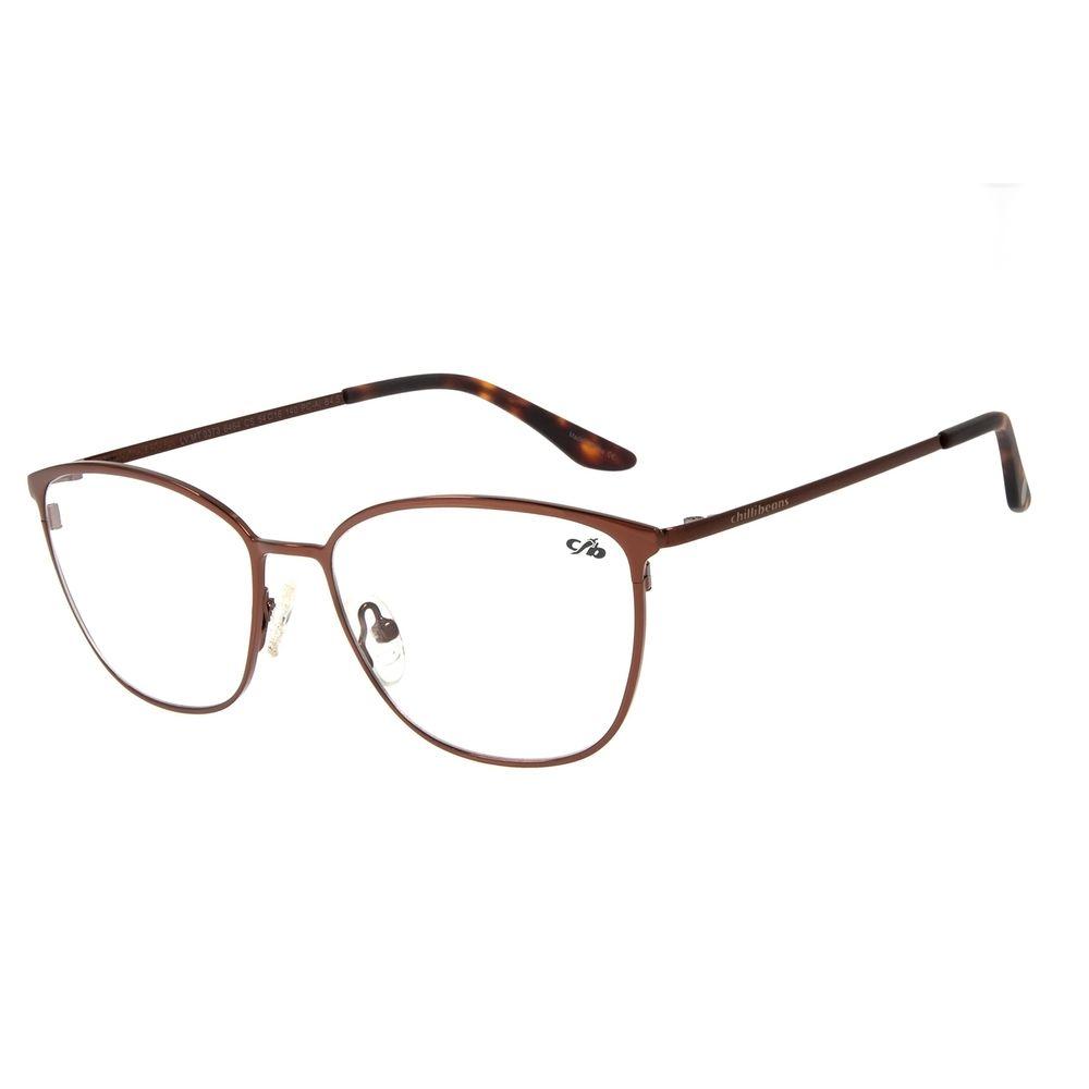 Armação Para Óculos de Grau Feminino Chilli Beans Quadrado Fine Line Dourado Claro LV.MT.0373-6464