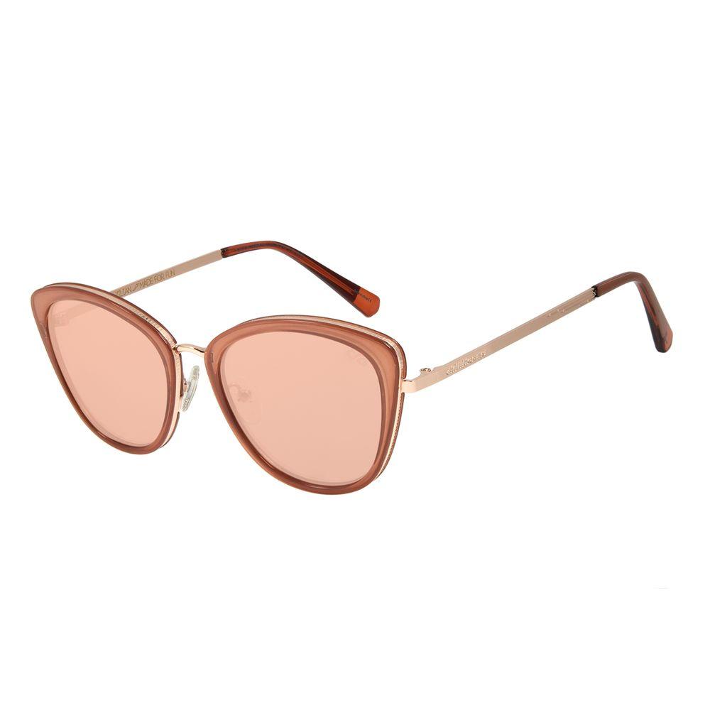 Óculos de Sol Feminino Alok FashionTech Gatinho Rosa Espelhado OC.CL.3058-5413