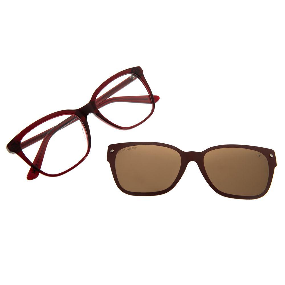 Armação Para Óculos de Grau Feminino Alok Cat Polarizado Vinho LV.MU.0451-0217