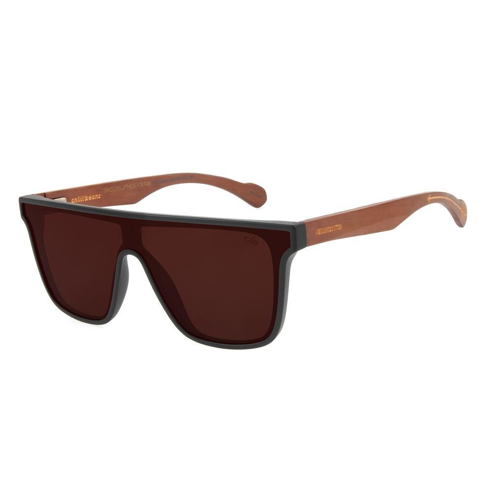 Óculos de Sol Masculino Alexandre Herchcovitch Quadrado Madeira Marrom OC.CL.3038-0202