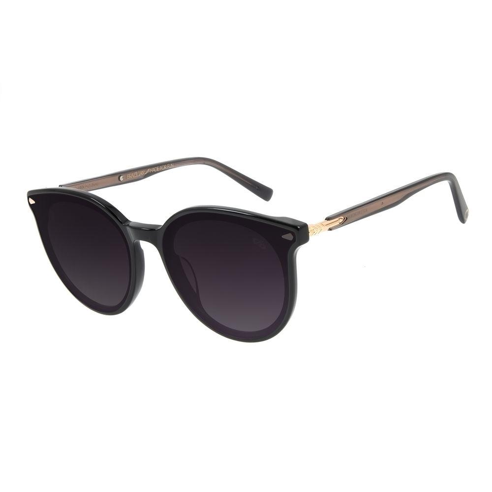 Óculos de Sol Feminino Alexandre Herchcovitch Flecha Redondo Preto OC.CL.3039-2001