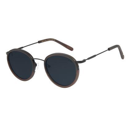 Óculos de Sol Unissex Alexandre Herchcovitch Gula Redondo Preto .CL.3041-0501