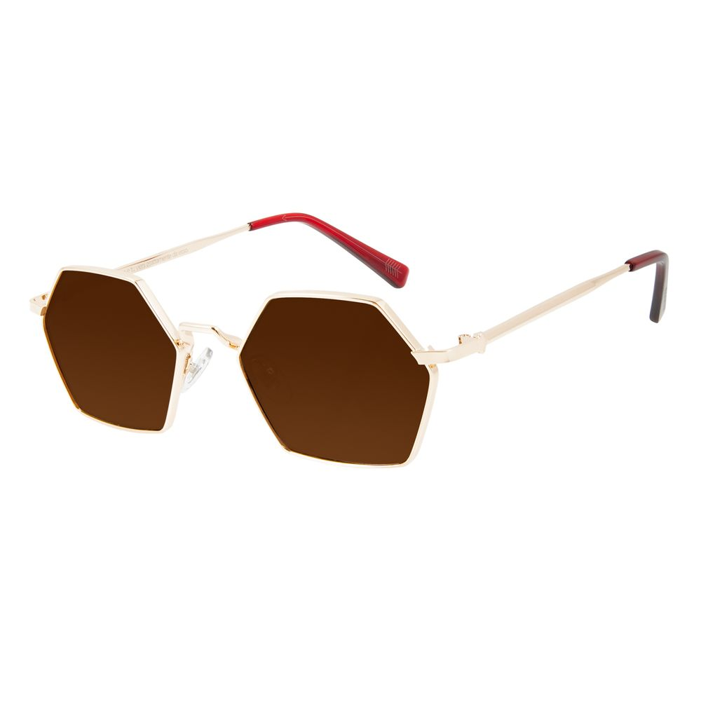 Óculos de Sol Unissex Alexandre Herchcovitch Hexagonal Dourado OC.MT.2863-0221