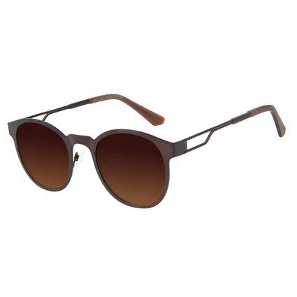 Óculos de Sol Unissex Alexandre Herchcovitch Metal Linear Redondo Marrom OC.MT.2876-5702