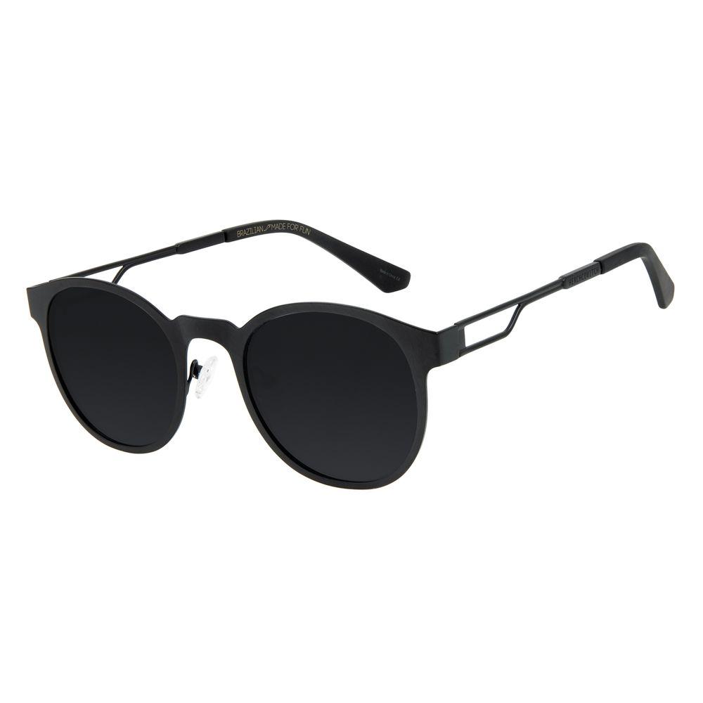 Óculos de Sol Unissex Alexandre Herchcovitch Metal Linear Redondo Preto OC.MT.2876-0101