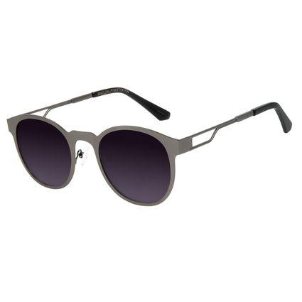 Óculos de Sol Unissex Alexandre Herchcovitch Metal Linear Redondo Ônix