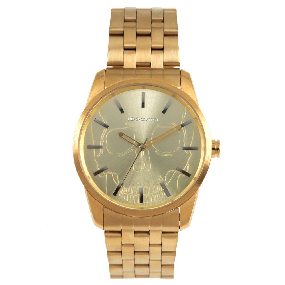 Relógio Analógico Masculino Alexandre Herchcovitch Caveira Metal Dourado RE.MT.0989-2121