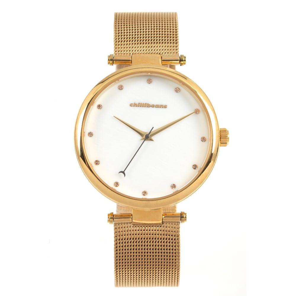 Relógio Analógico Feminino Chilli Beans Malha Metal Dourado RE.MT.1019-2121