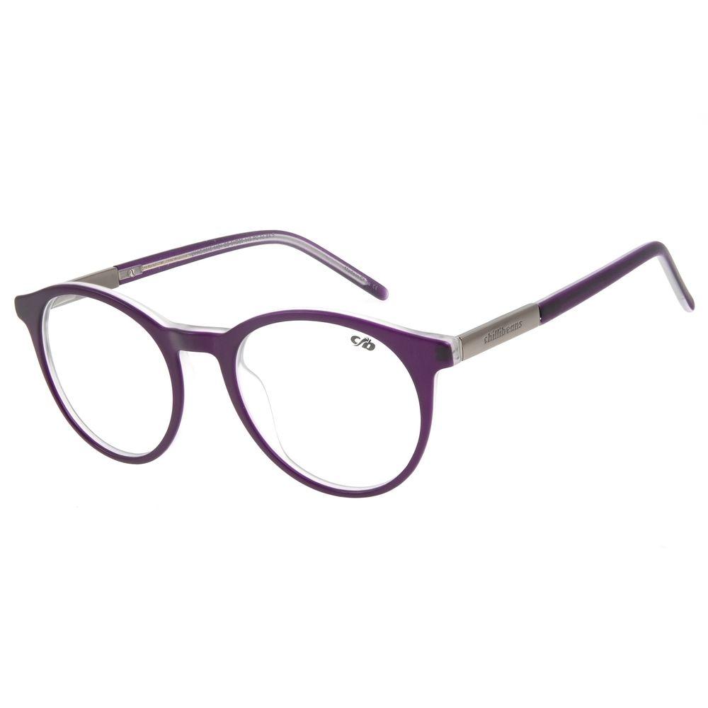 Armação Para Óculos de Grau Feminino Chilli Beans Redondo Casual Roxo LV.AC.0615-1424