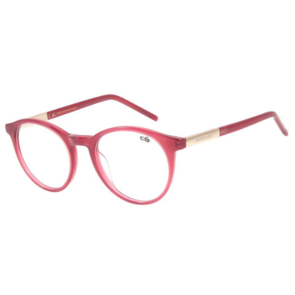 Armação Para Óculos de Grau Feminino Chilli Beans Redondo Casual Rosê LV.AC.0615-9595