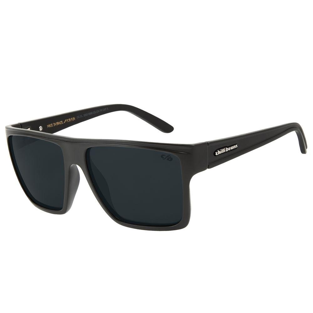 Óculos de Sol Unissex Chilli Beans Quadrado Preto Fumê Polarizado Essential OC.CL.2203-0589