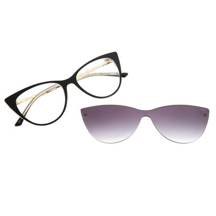 Armação Para Óculos de Grau Feminino Multi Gatinho Preto LV.MU.0364-2001